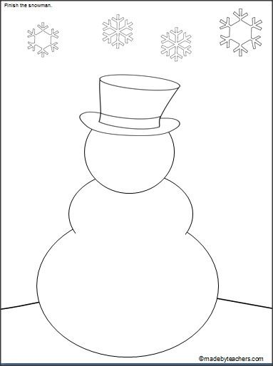This is a FREE snowman drawing and coloring activity on Madebyteachers.com. Students draw the missing parts and color.