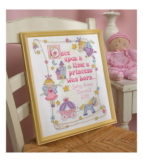 Bucilla-Princess Birth Record Counted Cross Stitch Kit-10 X13  14 Count