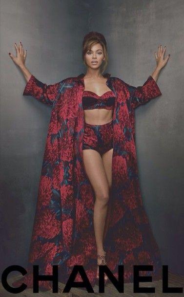 Coat: beyonce bey queen b beyonce concert underwear robe lingerie roses bra balconette chanel kimono