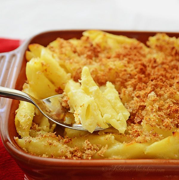 Civil War Macaroni and Cheese - macaroni cooked in milk; no need to make sauce separately; all done in one pot - kitchennostalgia.com