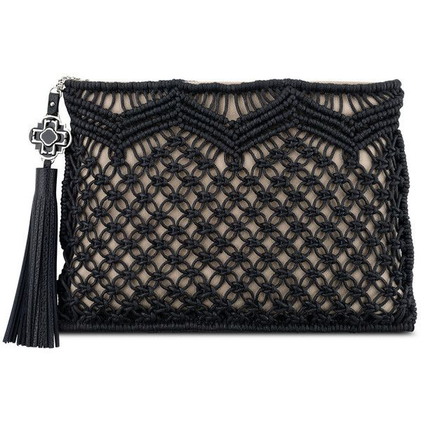 Rafe Celia Large Macrame Clutch Bag (186 AUD) ❤ liked on Polyvore featuring bags, handbags, clutches, rafe, tassel handbag, woven handbag, rafe handbags and macrame handbags