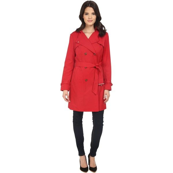 Cole Haan Double Breasted Trench Coat w/ Printed Lining (Crimson) ($200) ❤ liked on Polyvore featuring outerwear, coats, red, double breasted sport coat, cole haan coats, red sports coat, belted trench coat and red sport coat