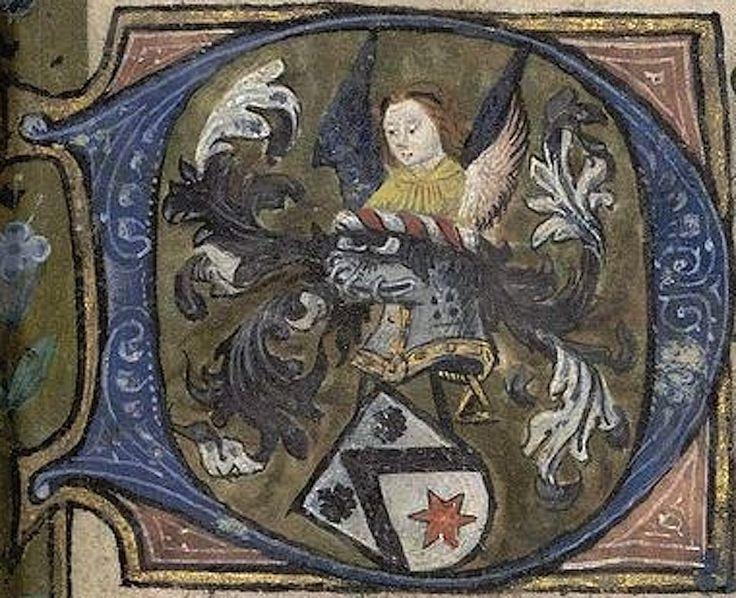 Lettre ornée des armes, probablement de la famille De Heere (Belgique et France) (p. 54). -- «Livre d'heures», en latin, Namur, XVe s. [MAR-SAN-SocArch004]. -- d'argent au chevron de sable, accompagné en chef de 2 coquilles du même, et en pointe d'une étoile de gueules.