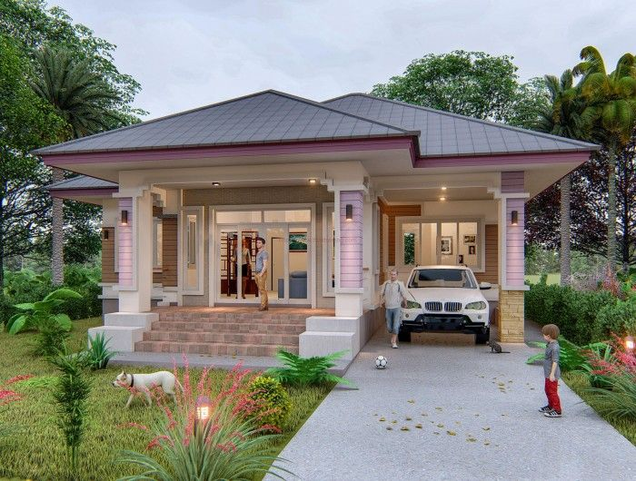 Single Bungalow Three-bedroom House Design That Looks Simple Yet