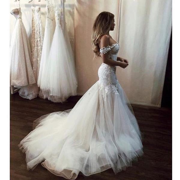 Vintage Lace Off Shoulder Mermaid Tulle Backless Wedding Dresses Fc1909 Applique Wedding Dress Backless Wedding Mermaid Style Wedding Dress