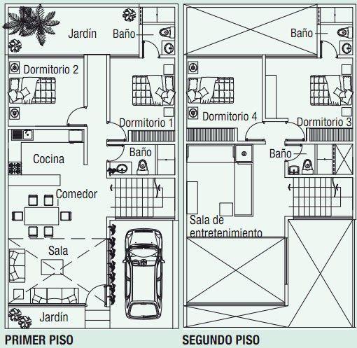 Planos de casa en 120m2 con doble altura . Se requieren planos para vivienda en un terreno que mide 8m × 15m , es decir, 120 m² . El detalle...