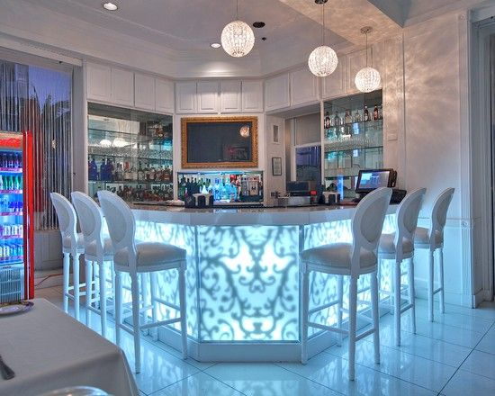 Awesome Modern Home Bar With Glowy Table And Fancy Bar