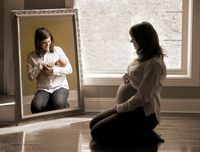 Before & after maternity pic with mirror