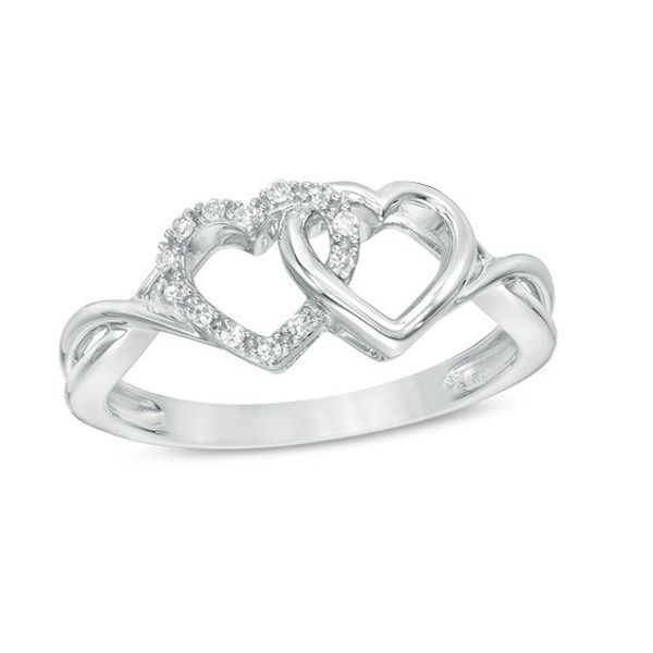 1 20 Ct T W Diamond Interlocking Hearts Twist Ring In 10k White Gold Emerald Ring Gold Genuine Emerald Rings Jewelry