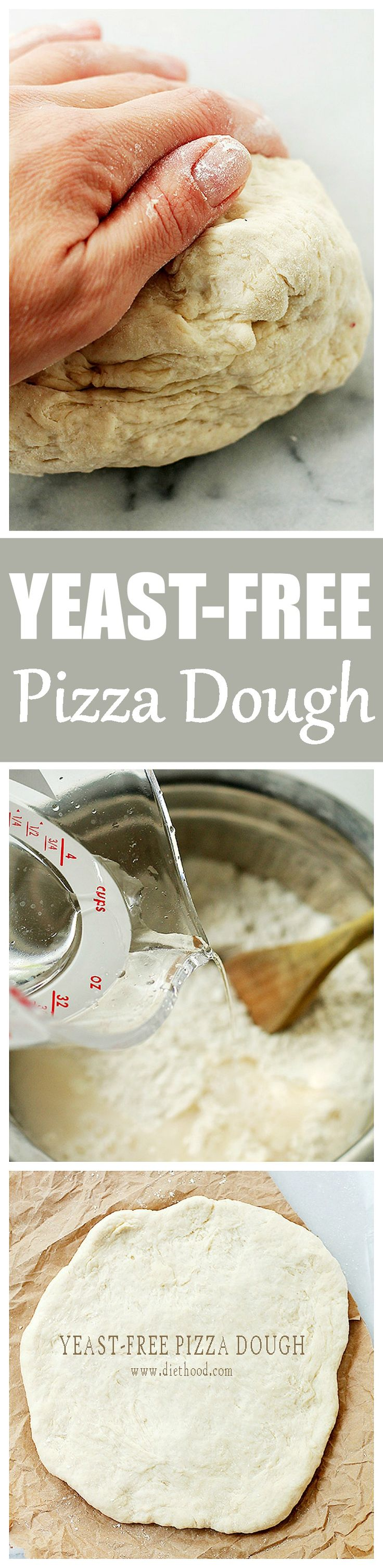 Yeast-Free Pizza Dough | www.diethood.com | Fast and simple recipe for Pizza Dough made without yeast that is delicious and SO easy to make!