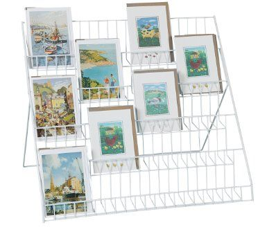 Lightweight Collapsible Greeting Card Display Stand: Detachable rear support; 5 tiers 525mm wide, suitable for 3 x A5 or 4 x A6 cards. Sloping tiers; £22.99  Amazon.co.uk: