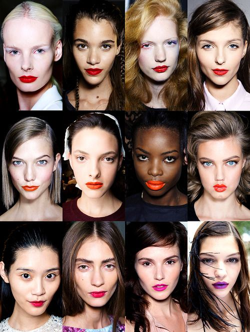 Spring 2014 Makeup Trend: Neutral faces highlighted by bold pops of lip color.