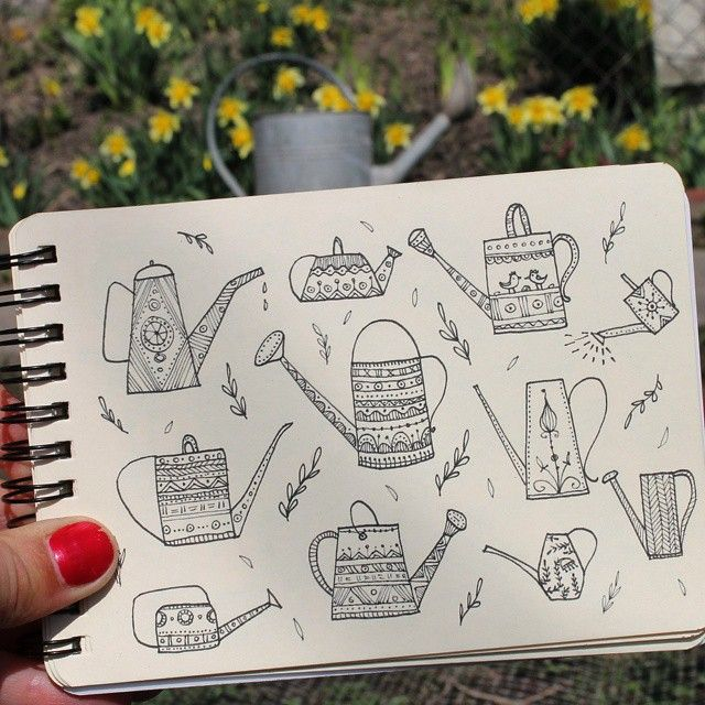 Day 10 of #The100DayProject Watering can. #100DaysOfDrawingThingsInDifferentVariations #illustration #inkdrawing #doodle #drawing #art #yuliiabahniuk #gardening