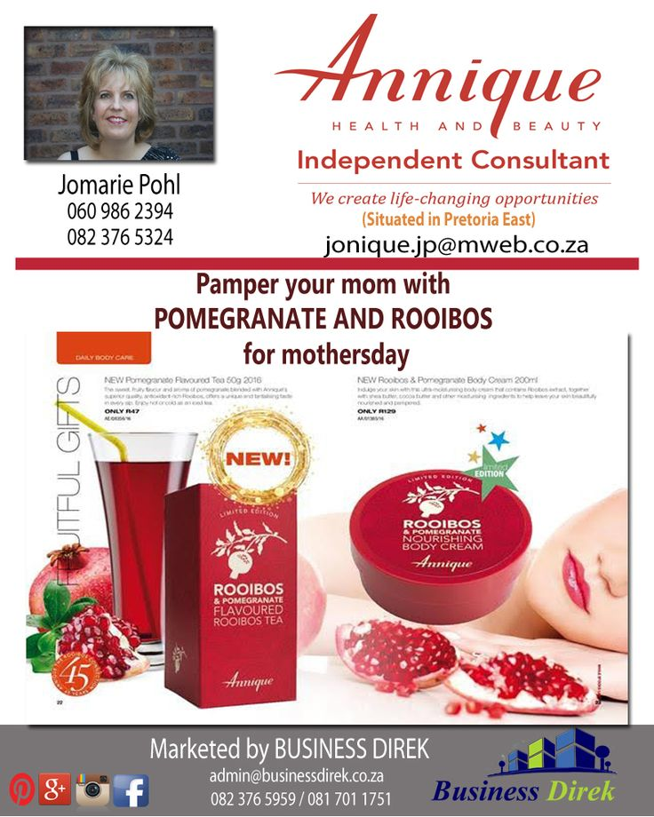JONIQUE ROOIBOS Independent Annique Consultant Jomarie Pohl - 082 376 5324 or 060 986 2394 http://www.businessdirek.co.za/jonique (Elarduspark, Pretoria) *This will make a special mothersday gift*