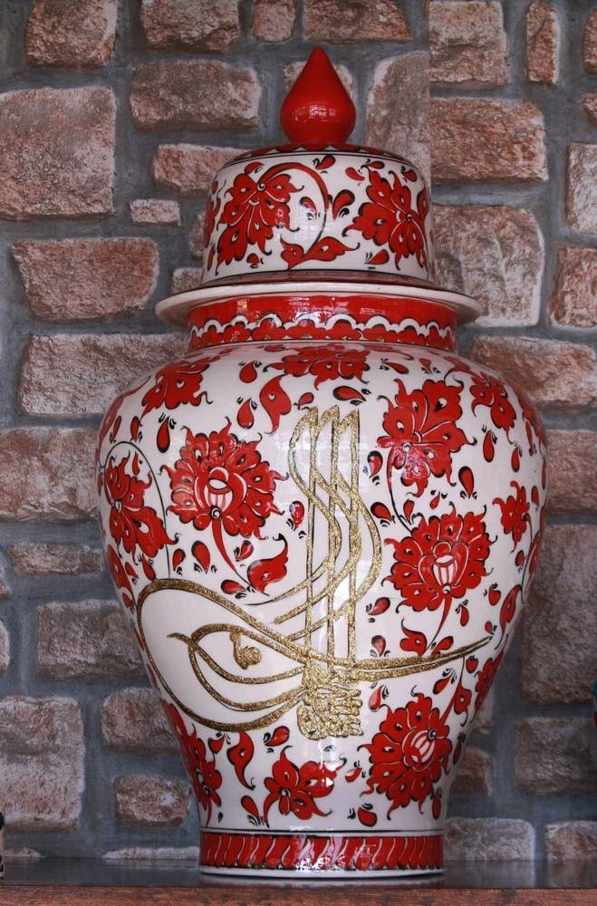 Osmanlı Tuğrası Kabartmalı Kırmızı Çini Vazo