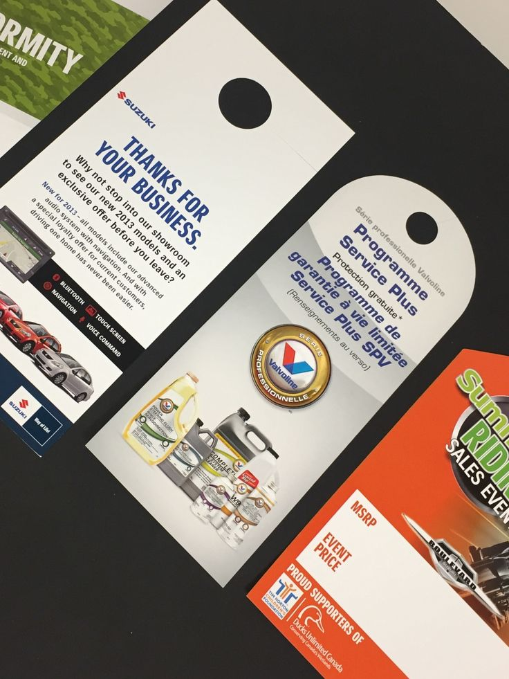 Di cut Danglers & Hangers, a great way to get the message out. They are reusable, recyclable, cost effective and can be used in many different ways.