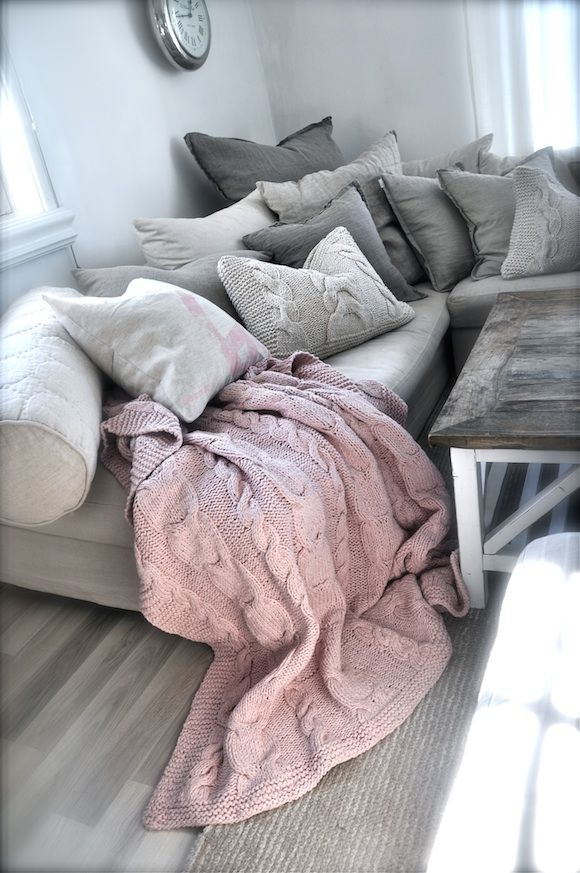 Love the blush cable knit throw