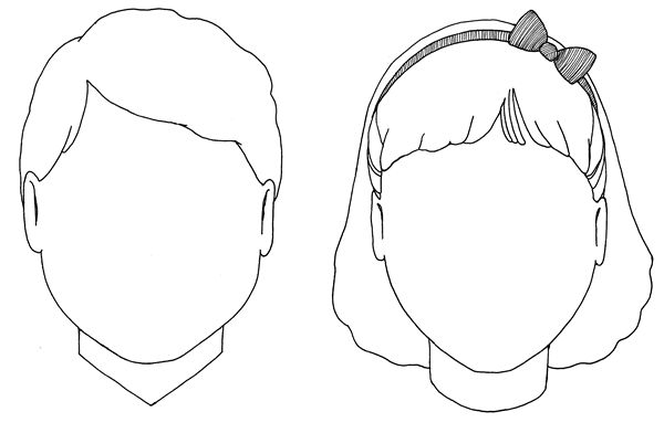 boy and girl face templates. Put 2 on each page.   Rostos ...