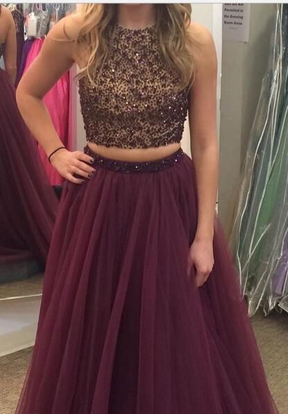 two piece prom dress, long prom dress, burgundy prom dress, 2017 prom dress