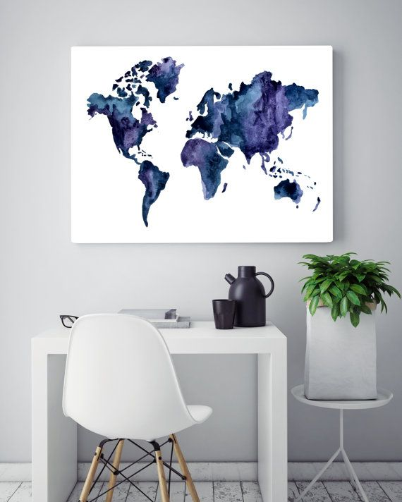 world map wall art watercolor world map by on etsy