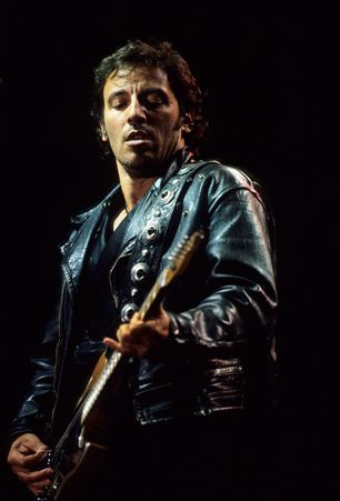 Bruce Springsteen performs during the Amnesty International concert in London.