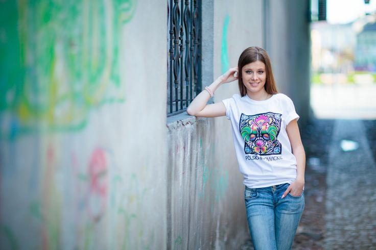 Koszulka FOLK - wycinanka - biała