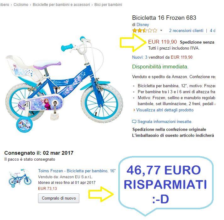Fino al 31 marzo 10 euro in regalo con i buoni amazon e poi vi parlo del nuovo servizio Iscriviti e Risparmia e di come ho risparmiato quasi 50 euro su questa bici di Frozen :-D