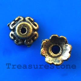 Bead cap, antiqued brass finished, 7x3mm. #TreasureStone Beads Edmonton. www.TreasureStoneBeads.com