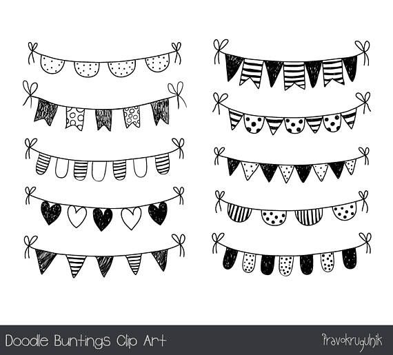 Hand Drawn Doodle Bunting Clipart Black And White Flag Clip Etsy Banner Clip Art Handmade Poster Banner Drawing