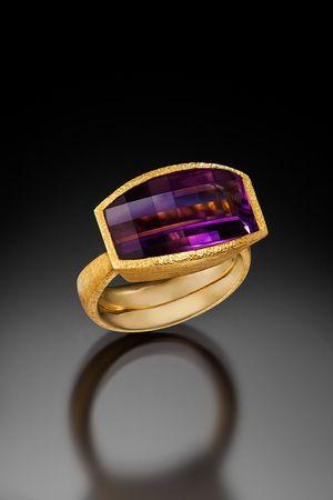 Devta Doolan - Opposed Bar Amethyst Ring