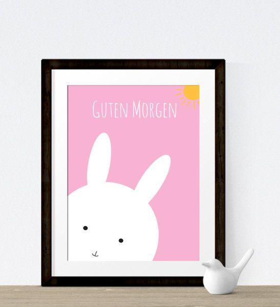 Bilder - ArtPrint Hase Guten Morgen pink - ein Designerstück von crownprintcess bei DaWanda