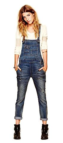 Washed Denim Overalls, $101, Free People. How to wear overalls for spring 2014 - Chatelaine.