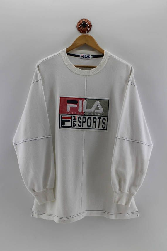 FILA Sports Crewneck Sweater Unisex Medium Fila Italia Biella Italia Pullover Sweatshirt Fila Big Logo Streetwear White Jumper Men Size M
