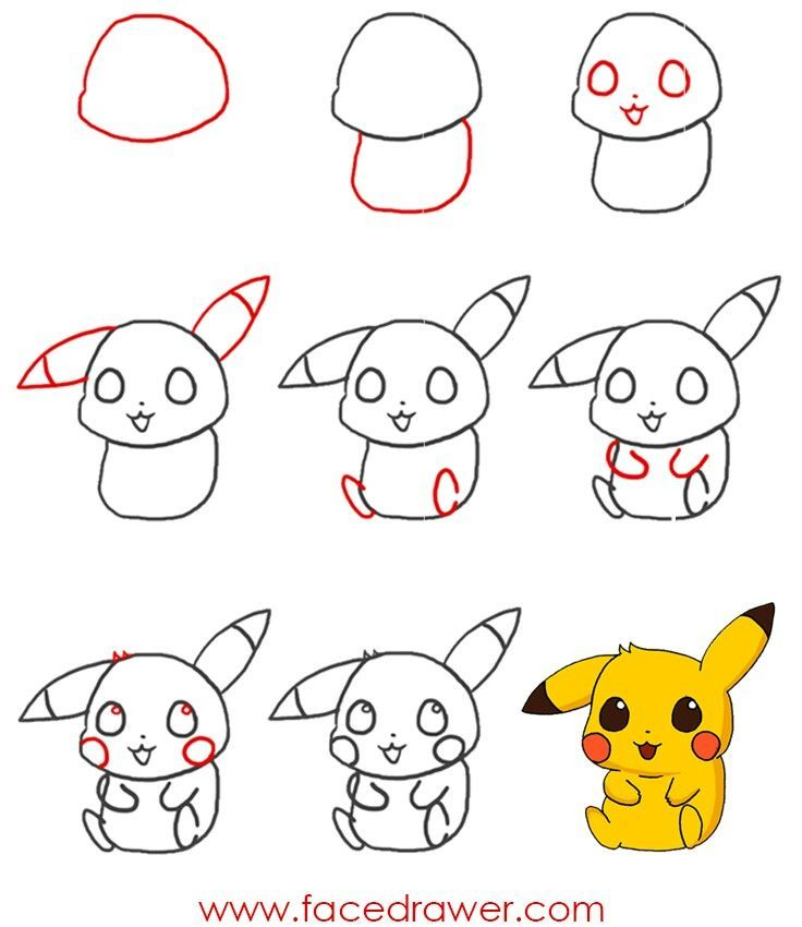 How To Draw Chibi Pikachu Pokemon Chibi Pikachu Draw Cute Easy Drawings Easy Pokemon Drawings Pikachu Art