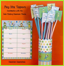 Freebie! Sock Monkey Pixy Stix toppers to give to students on their birthdays!