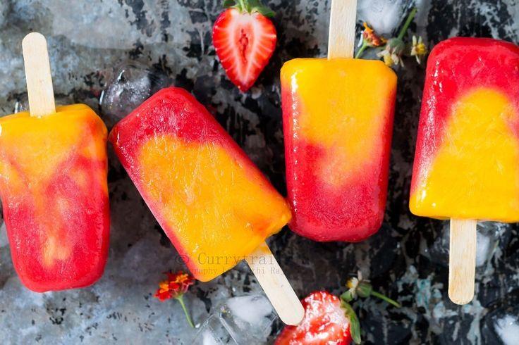 Strawberry Mango Popsicles   2 Ingredient Popsicles