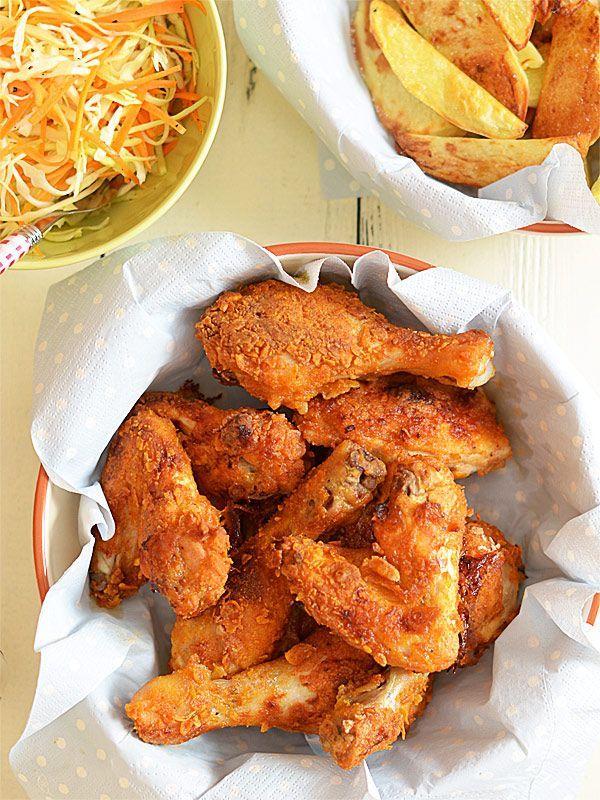 Kurczak w pikantnej panierce - pieczony, a nie smażony (wcześniej marynowany w maślance)