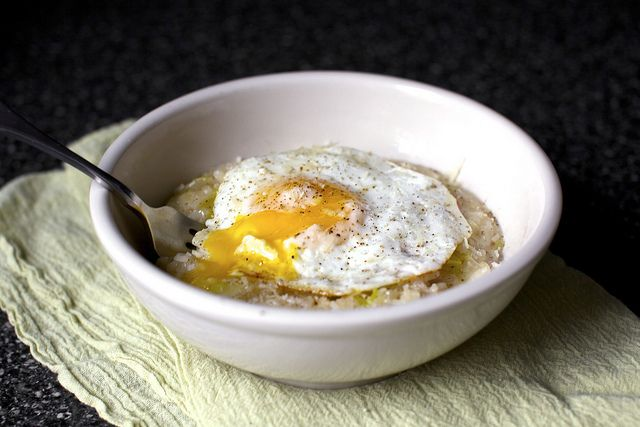 Bacon, egg and leek risotto