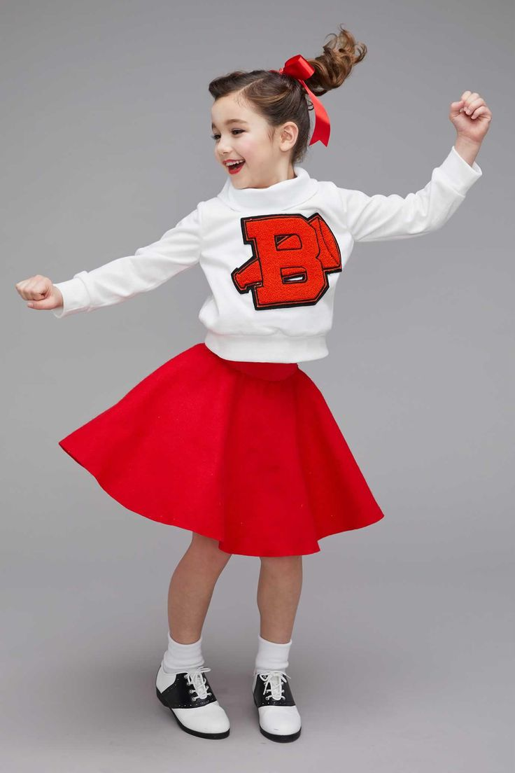'50s Cheerleader Costume for Girls. Join the high school cheerleading squad and rally the crowds on game day! Show your team spirit with this peppy ensemble for Halloween.