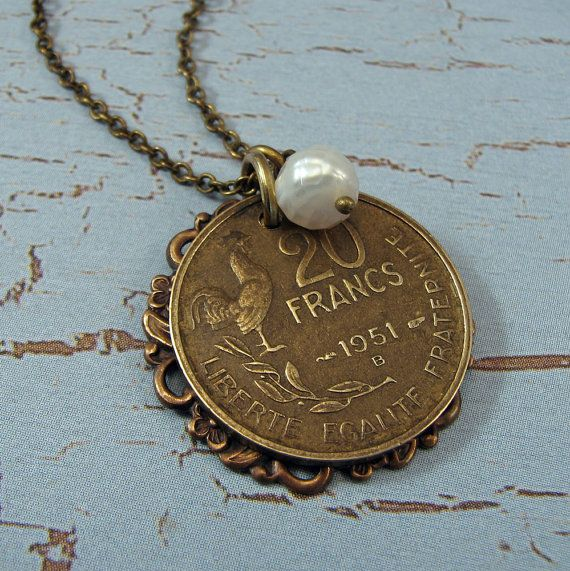 Love this!! Cute idea to take an old coin and make a necklace out of it!