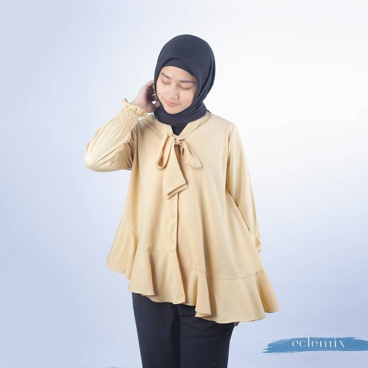 New Arrival 2018: . Silia Top in Mustard. . Also available in white and Milo. . Exclusive available at:  www.eclemix.com or kindly reach our admin contact at:  line@ : @eclemix  WA : 081326004010 . #eclemix #fashion #hijab #beauty #top #ootd #fashionhijab #localbrand #bandung