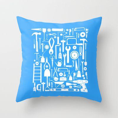 Toolbox Poster: Blue Throw Pillow by CreativeNeesh - $20.00