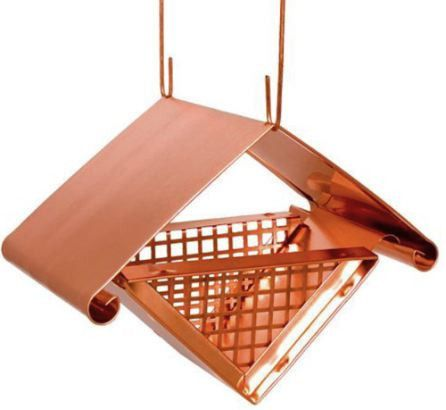Solid copper handcrafted feeder does shelled peanuts, suet balls & nuggets, nesting material in spring and fruit in summer. Unique peanut feeder entices clinging birds like chickadees, woodpeckers, nu
