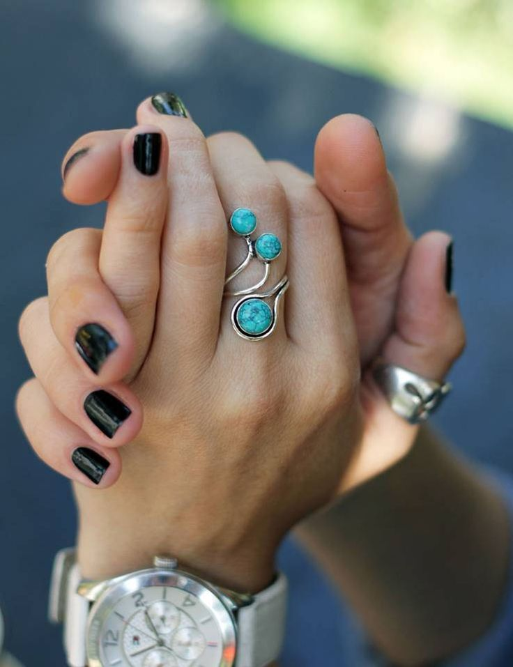 Ring with turquoise, ring green stone, stone ring, beautiful ring, metal ring, unique ring, long ring, stylish ring, boho ring, nice ring by CurryMoon on Etsy