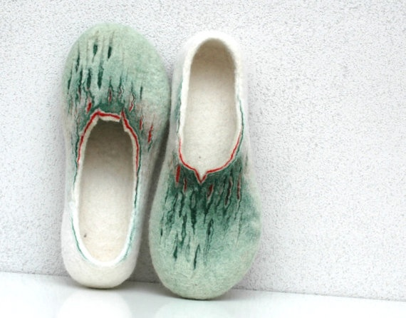 Felted slippers Painting of Spring Green white red by jurgaZa, $65.00