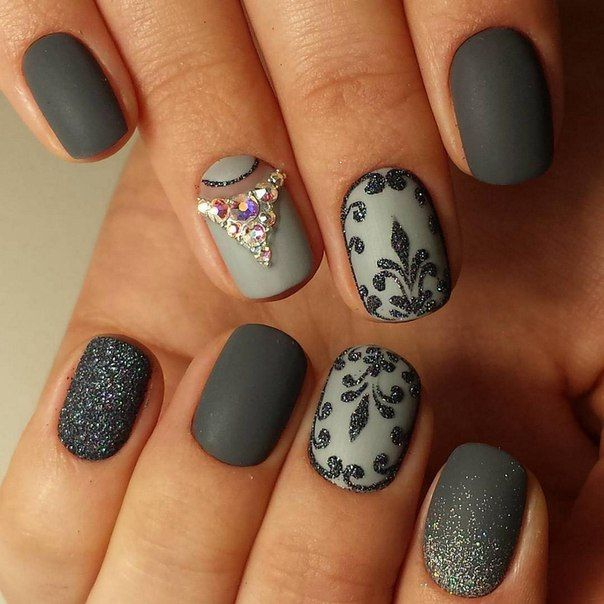 Beautiful evening nails, Evening dress nails, Evening nails, Festive nails, Half moonnails with rhinestones, Matte nails, Nails with curls, Nails with rhinestones
