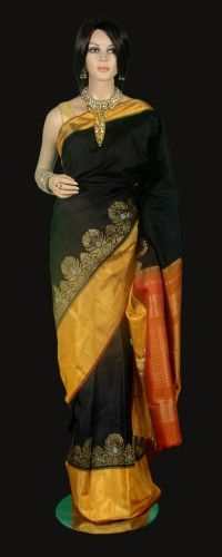Black Kanjeevaram Saree with Mustard Gold Tissue Border