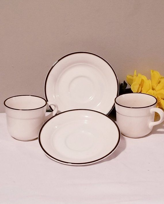 Set Of 2 Teacups And Saucers Mugs Stoneware Dishes Plates Drinking Mugs Pottery Dinnerware Ceramic Made In Ireland By Arklow Ironstone Stoneware Dishes Ceramic Dinnerware Tea Cups