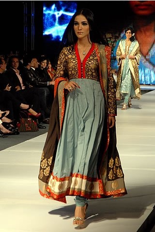 Anarkali Design (Red, Gray, Black, Orange, and Gold)