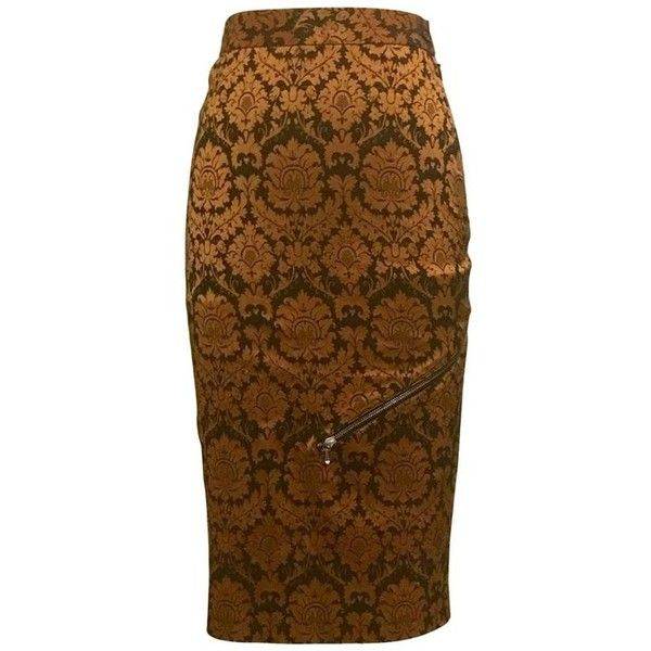 Preowned Alexander Mcqueen 1997 Runway Orange And Brown Brocade Zipper... (6.588.450 IDR) ❤ liked on Polyvore featuring skirts, orange, pencil skirts, pencil skirt, stretchy pencil skirt, stretch pencil skirt, zip pencil skirt and brown knee length skirt